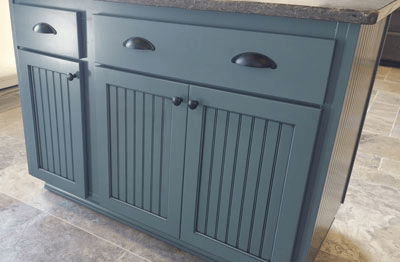 blue cabinets with bin pulls portland cabinet cures