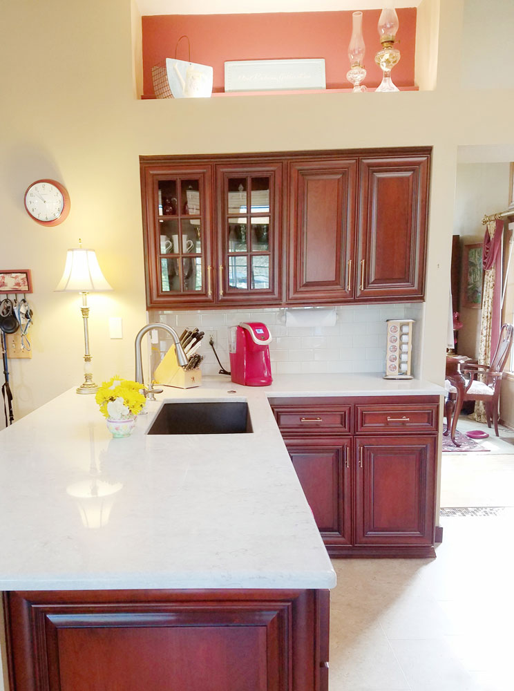 new kitchen cherry stain with glass cabinets