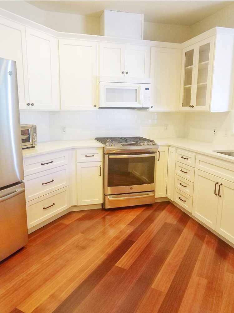 new white cabinets with pulls