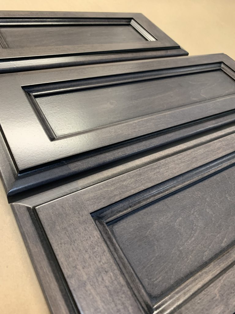 new cabinet doors with carbon stain and black glaze