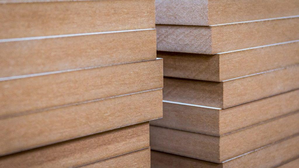 Stacks of MDF boards