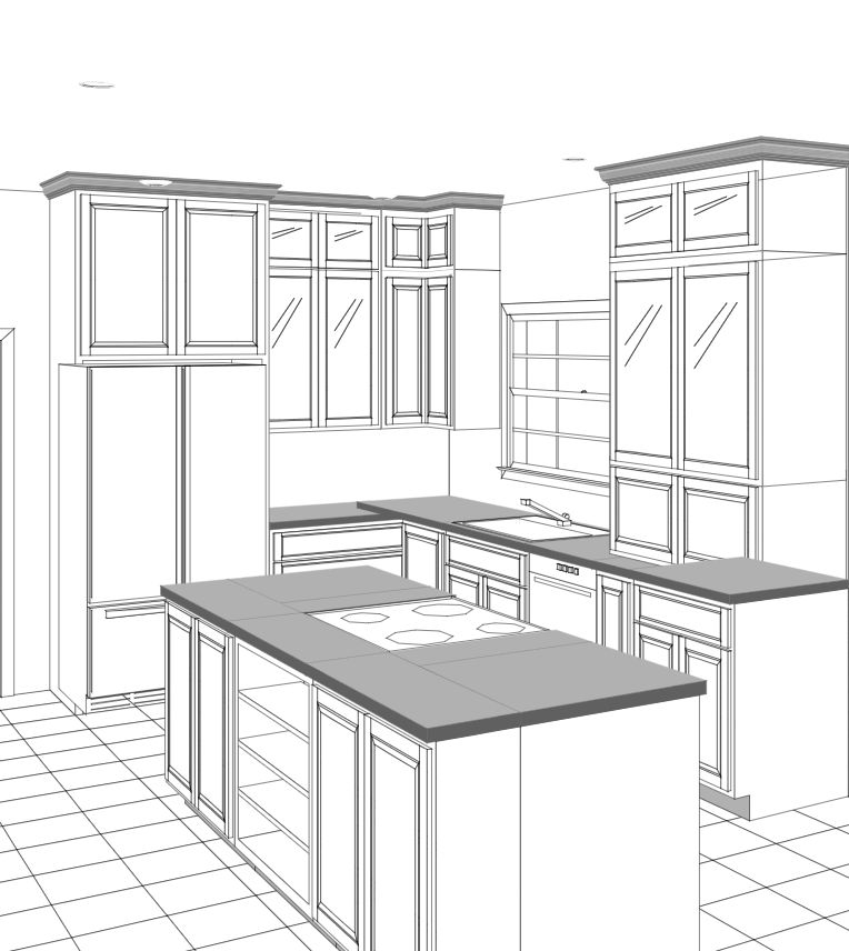 custom cabinet 3d rendered drawing