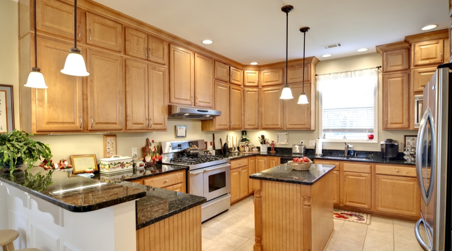A lighter, natural beauty with maple wood cabinets