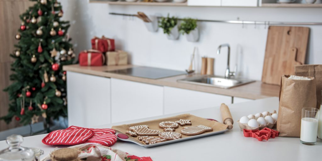 A tree, presents and cookies throughout! Decorating for the holidays is fun in the kitchen too!